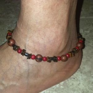 "Jewelry - 10"" Women's Red Agate Hematite Acia Berry Anklet"